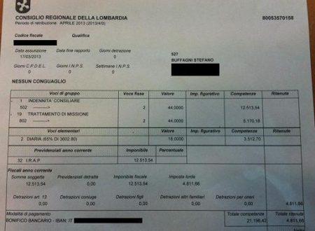 La busta paga ricevuta da ogni consigliere regionale in Lombardia: 16.384 euro