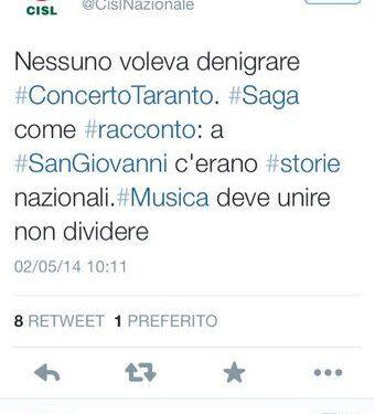 """La replica della Cisl a """"saga"""" #1maggiotaranto: """"a Roma c'erano storie nazionali"""""""