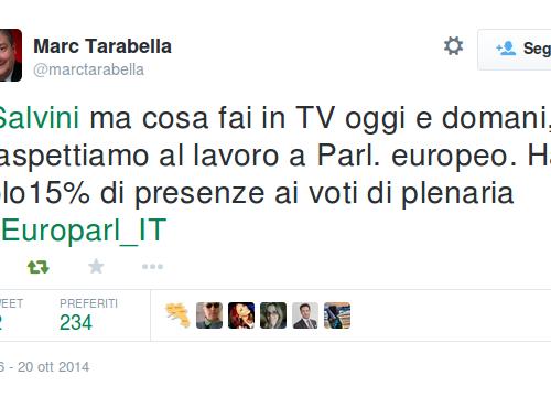 Marc Tarabella: Salvini vieni a lavorare invece di stare in TV