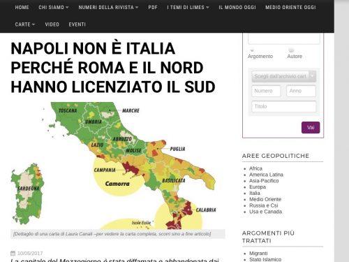Limes: Napoli non è più Italia, il Nord ha licenziato il Sud