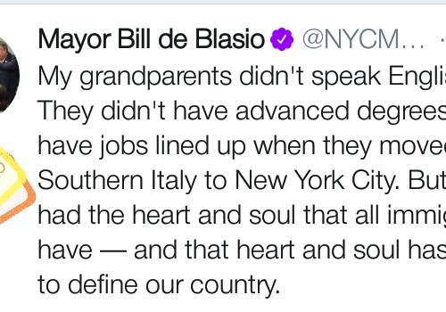 Bill De Blasio, sindaco di New York ricorda le proprie origini